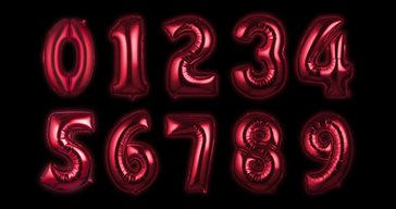 Foil balloon Red Numbers 100 cm