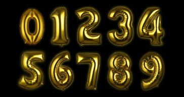 Foil balloon Gold Numbers 100 cm